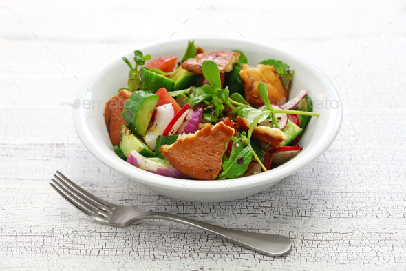 fattoush salad with sumac and pita bread - Stock Photo - Images