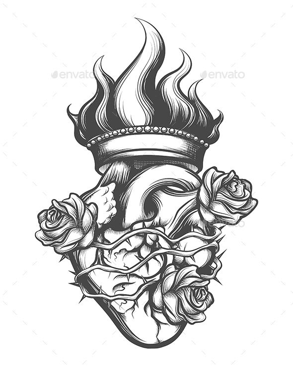 Sacred Heart Engraving Illustration - Tattoos Vectors