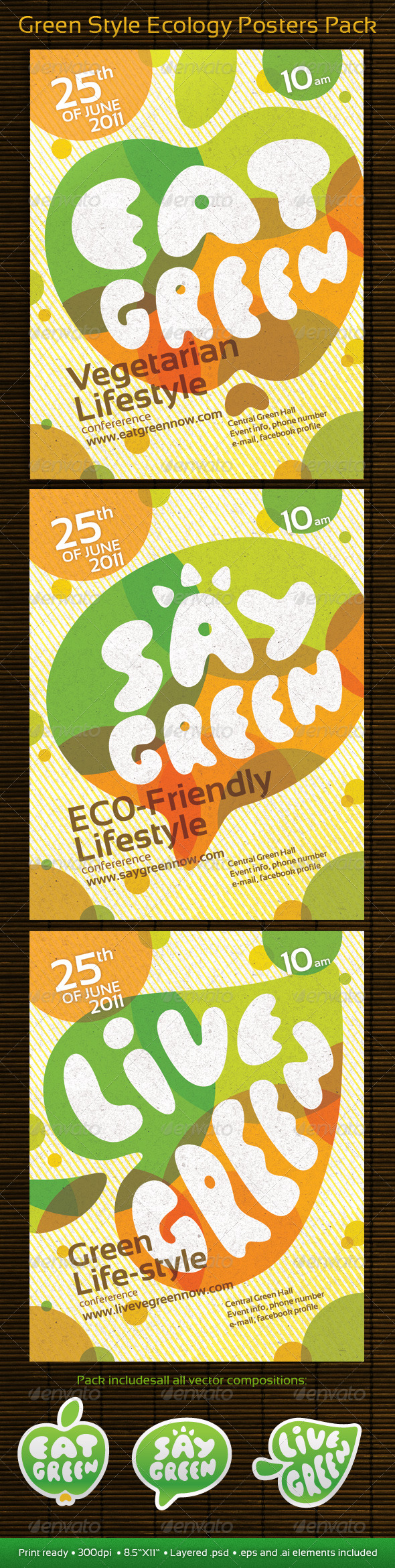 Green Style Ecology Posters Pack - Print Templates