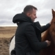 the Man Strokes the Icelandic Horses - VideoHive Item for Sale