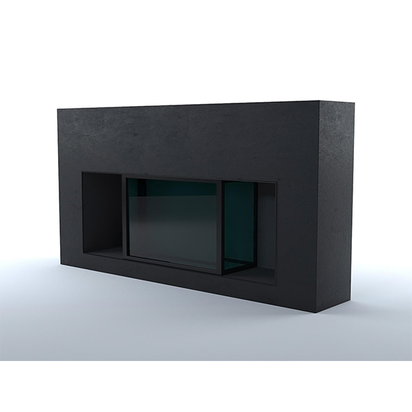 Black concrete fireplace - 3DOcean Item for Sale