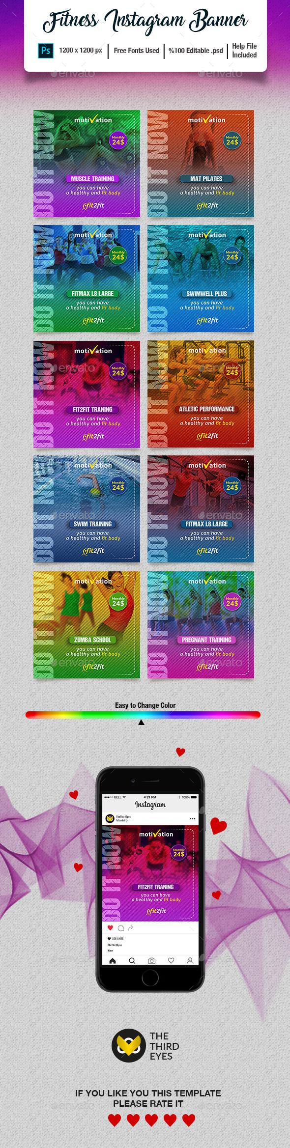 Fitness Instagram Banner Pack - Social Media Web Elements