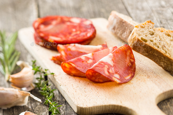 Sliced chorizo salami sausage. - Stock Photo - Images