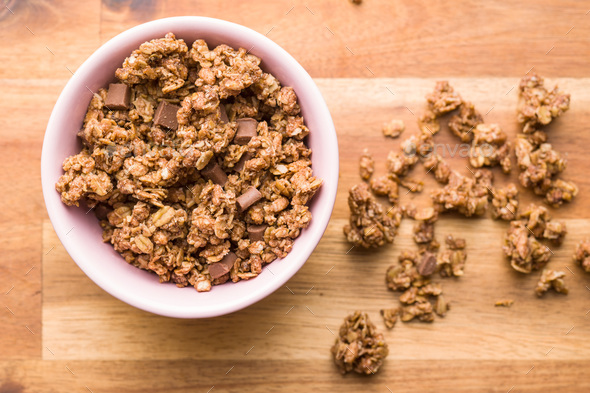 The chocolate granola breakfast cereals. - Stock Photo - Images
