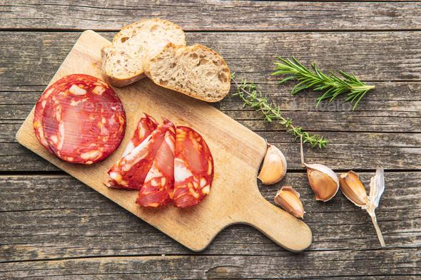 Sliced chorizo salami sausage. - Stock Photo - Images
