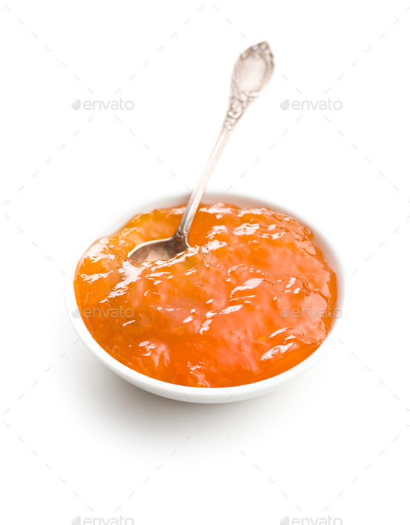 Tasty apricot jam in bowl. - Stock Photo - Images