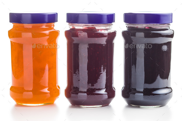 Tasty fruity jam in jar. - Stock Photo - Images