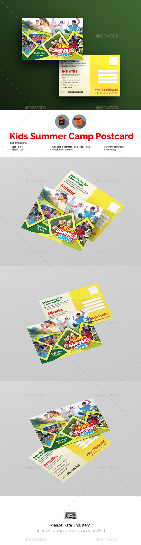 Kids Summer Camp Postcard - Cards & Invites Print Templates