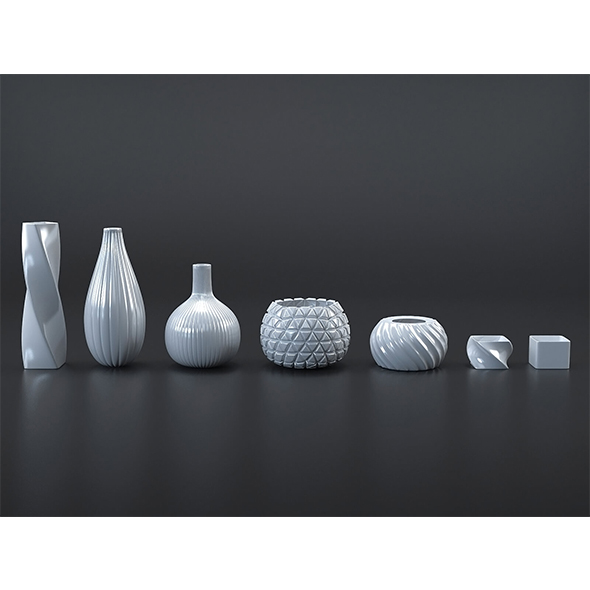 White/Black vases collection - 3DOcean Item for Sale