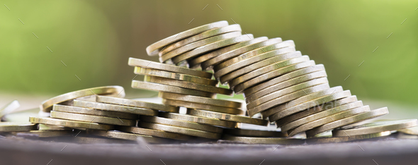 Golden money coins - Stock Photo - Images