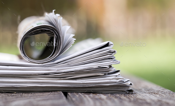 Morning newspaper close-up - Stock Photo - Images