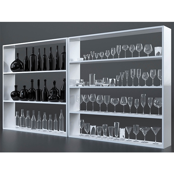 Glasses and bottles collection - 3DOcean Item for Sale