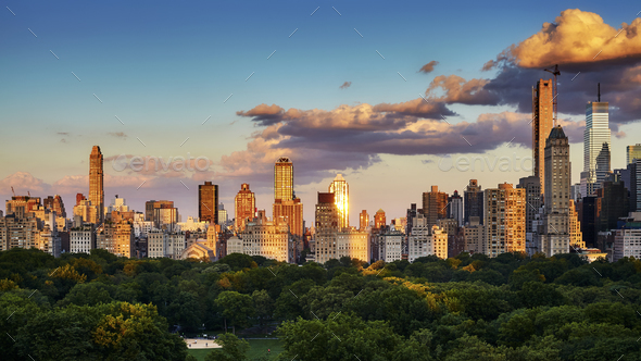 New York City Upper East Side skyline at sunset, USA. - Stock Photo - Images
