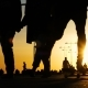 Silhouette of Lovers, Cyclists, a Woman with a Stroller, Skaters Ride in a Park at Sunset - VideoHive Item for Sale