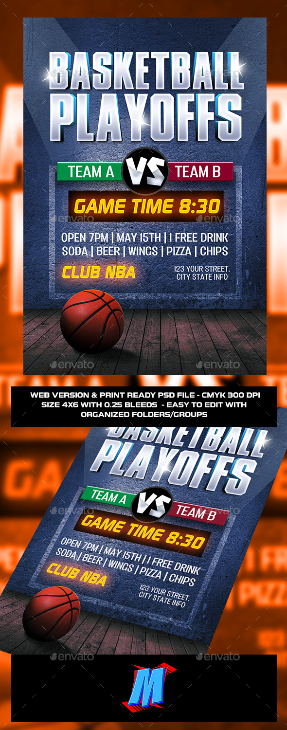 Basketball Playoffs Flyer Template - Clubs & Parties Events