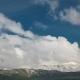 Snowy Mountain Peaks Over Clouds in Kazakhstan.
