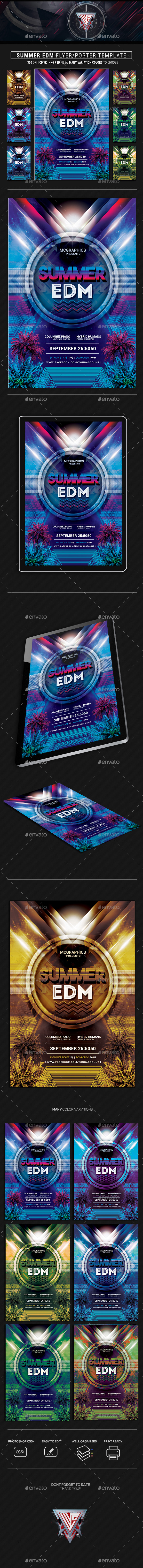 Summer EDM Photoshop Flyer/Poster Template - Flyers Print Templates