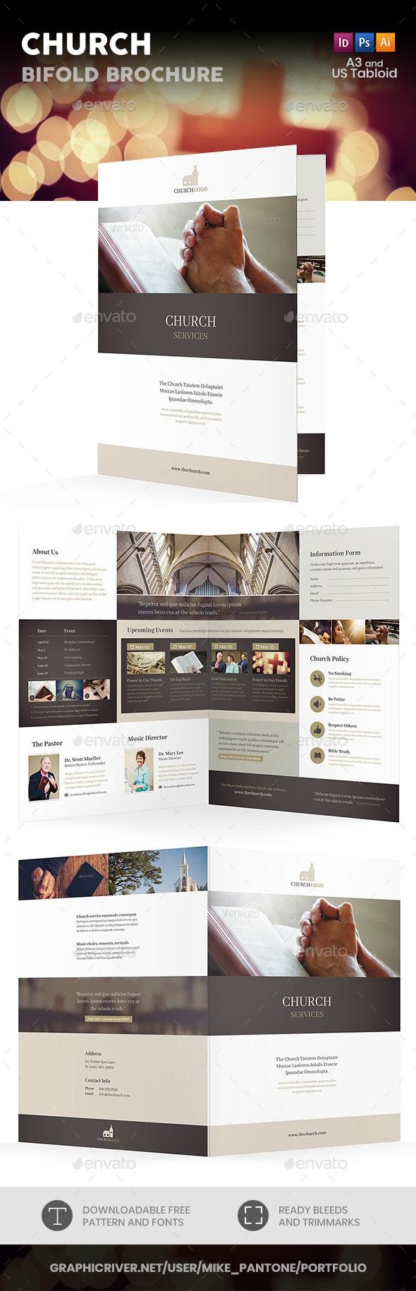 Church Bifold / Halffold Brochure 4 - Informational Brochures