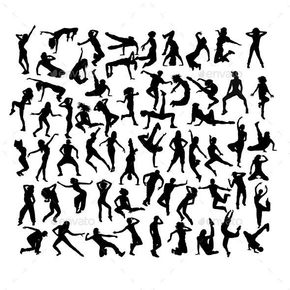 Break Dancers Silhouette - People Characters