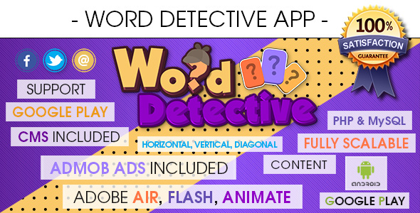 Word Search Detective App With CMS & AdMob - Android            Nulled