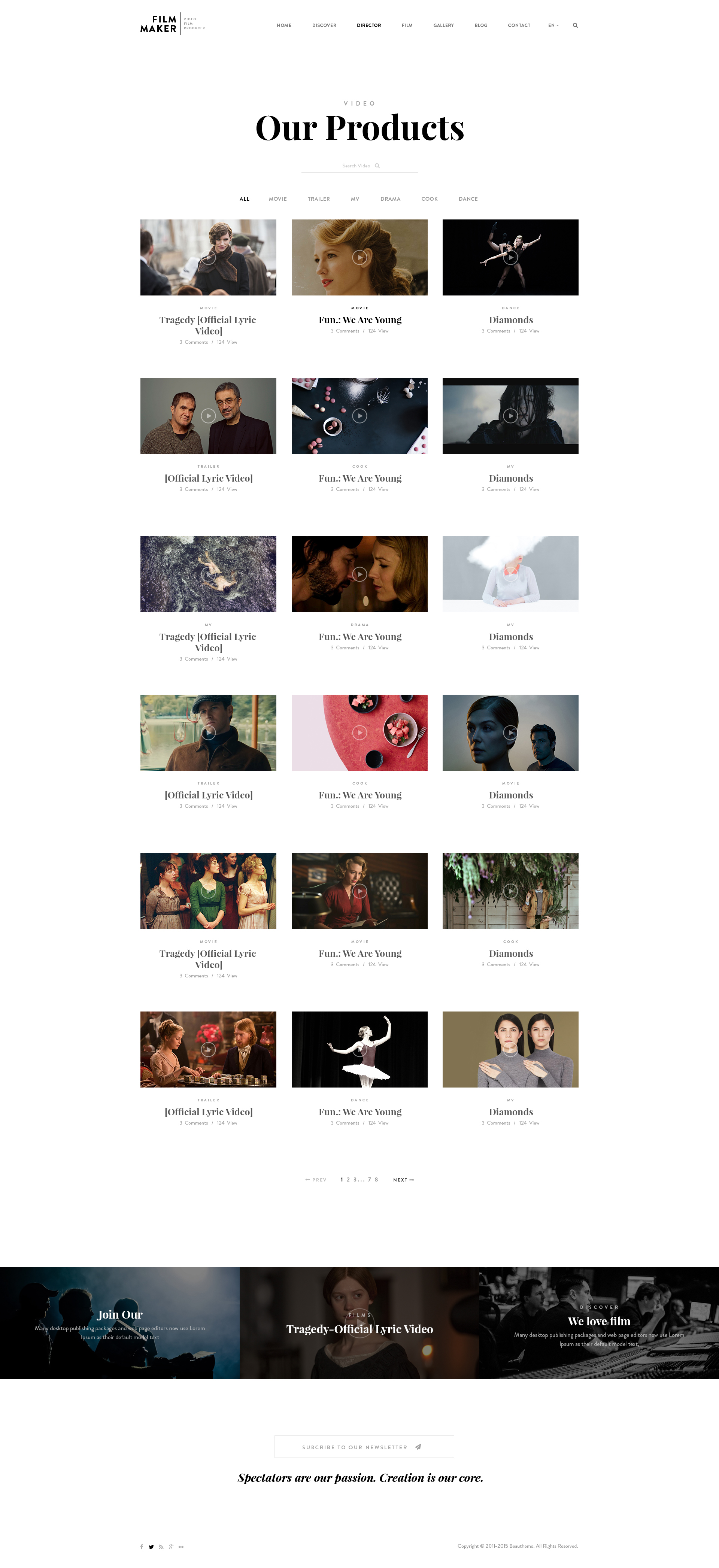 FilmMaker WordPress Theme: Film Studio - Movie Production - Video ...