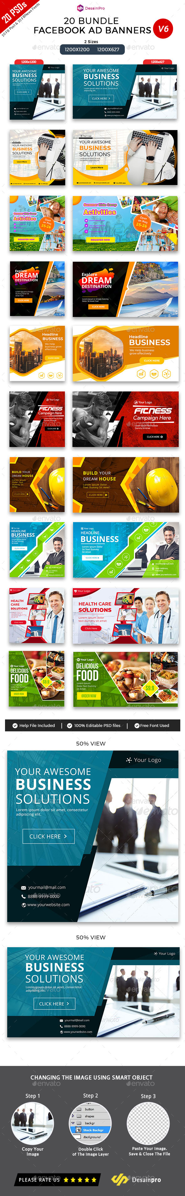 20 Facebook Ad Banners V6 Bundle - AR - Social Media Web Elements
