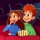 Couple in Movie Cinema Vector Illustration