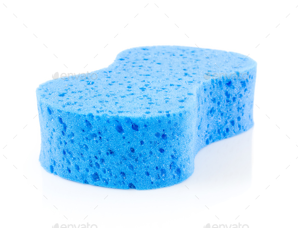Blue sponge on white-2 - Stock Photo - Images