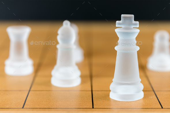Chess glass on a wood chessboard_-13 - Stock Photo - Images