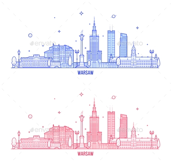 Warsaw Skyline Poland City Buildings Vector - Buildings Objects