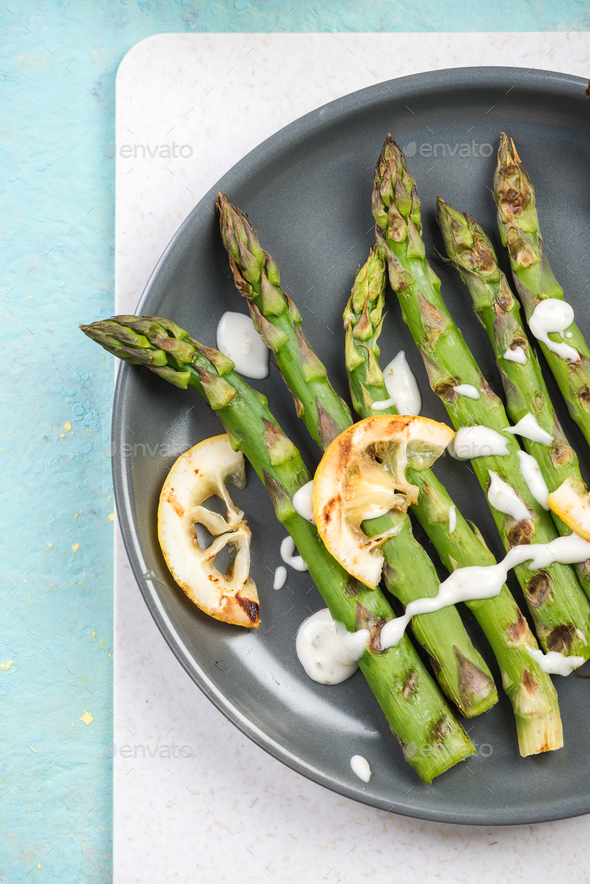Spring dish grilled asparagus from local market - Stock Photo - Images