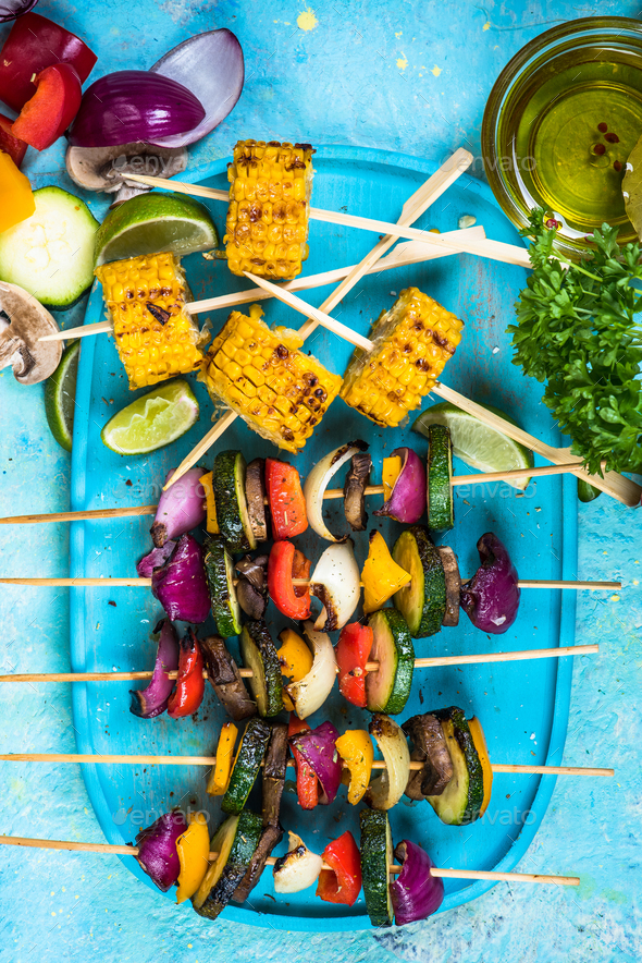 grilled vegetables,top view, vibrant colors - Stock Photo - Images