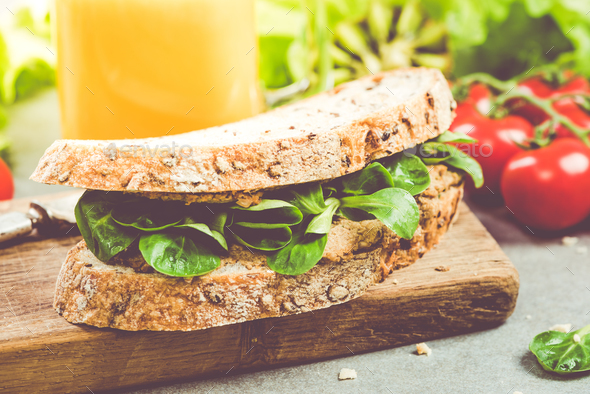 Healthy breakfast diet sandwich - Stock Photo - Images