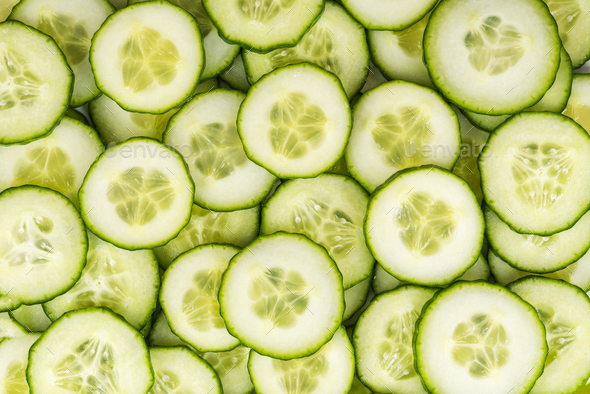 Cucumber slices, full frame food background - Stock Photo - Images