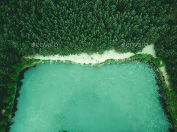 Wild pond in forest, birds eye aerial drone view - Stock Photo - Images