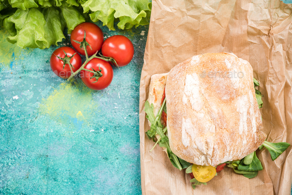 Healthy sandwich with fresh vegetables - Stock Photo - Images
