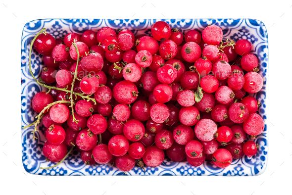 Frozen redcurrant fruints,close up - Stock Photo - Images