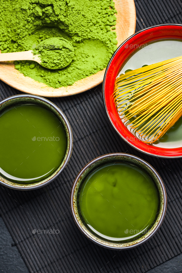Drinking ceremony, relaxing green matcha tea - Stock Photo - Images