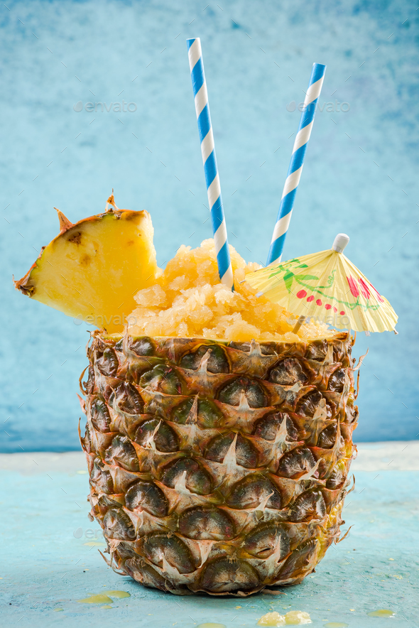 Ice cold sorbet served in pineapple - Stock Photo - Images