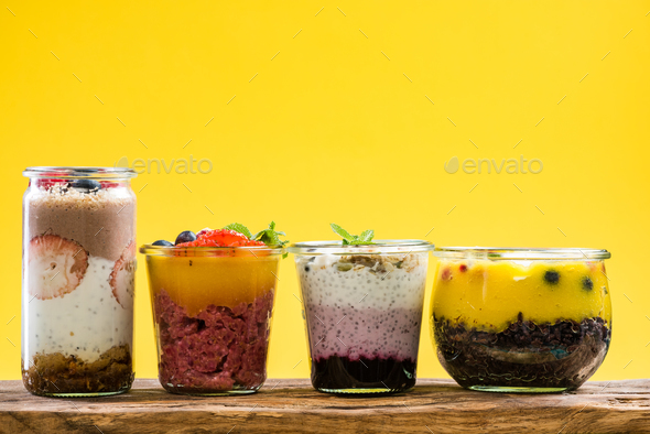 Layered desserts with fresh fruits,copy space - Stock Photo - Images