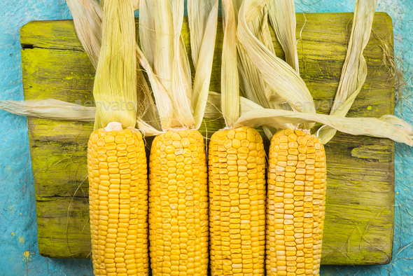 Corn on wooden table - Stock Photo - Images