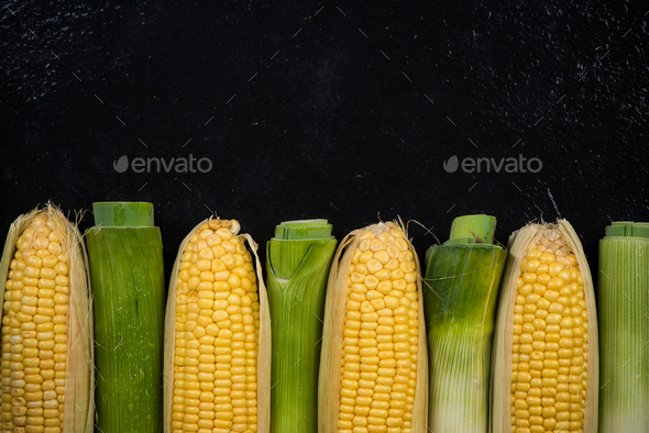 Organic corn and leek vegetables, copy space - Stock Photo - Images