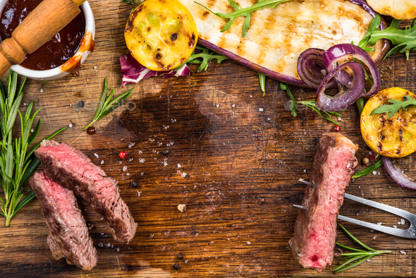 Grilled steak, vegetables herbs,spices and glaze - Stock Photo - Images