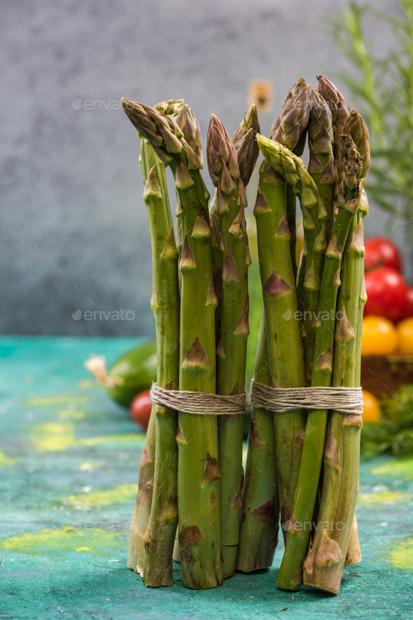 Green asparagus, seasonal vegetable - Stock Photo - Images