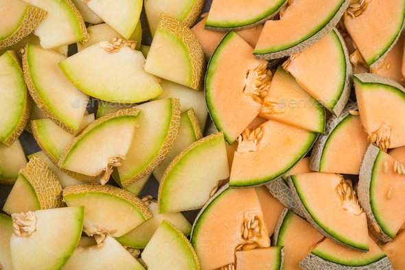 Cantaloupe and honeydew melon slices - Stock Photo - Images