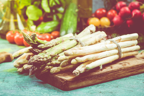 Bunch of fresh green and white asparagus - Stock Photo - Images