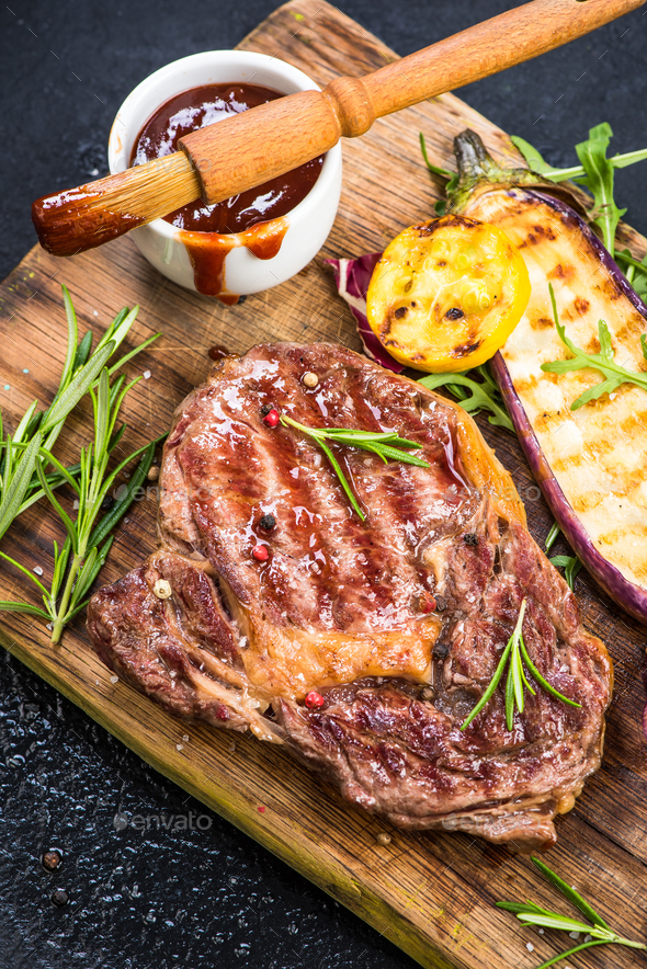 Grilled bbq beef steak with grilled vegetables - Stock Photo - Images