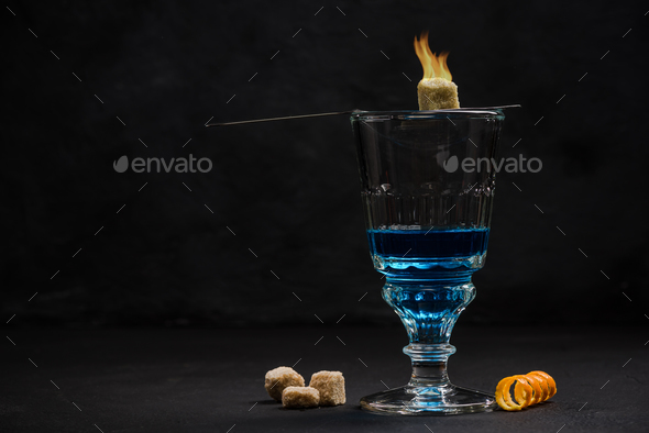 Absinthe, traditional Bohemian drinking set - Stock Photo - Images