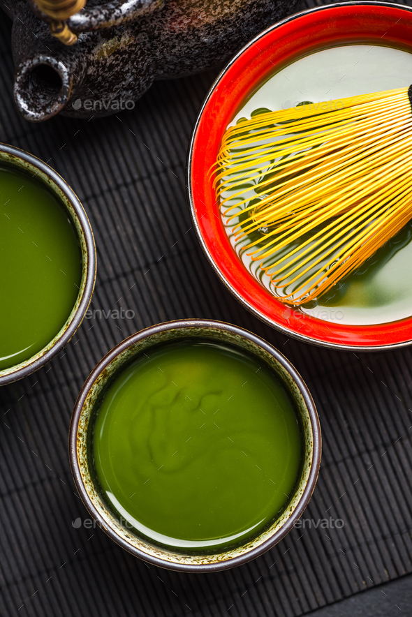 Freshly prepared matcha green tea - Stock Photo - Images