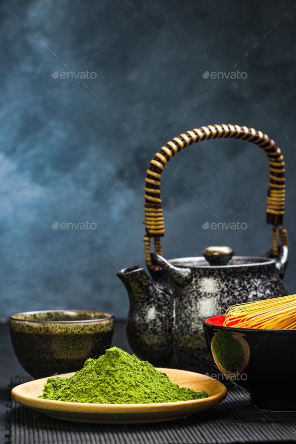 Green matcha tea,tea pot and bowl - Stock Photo - Images